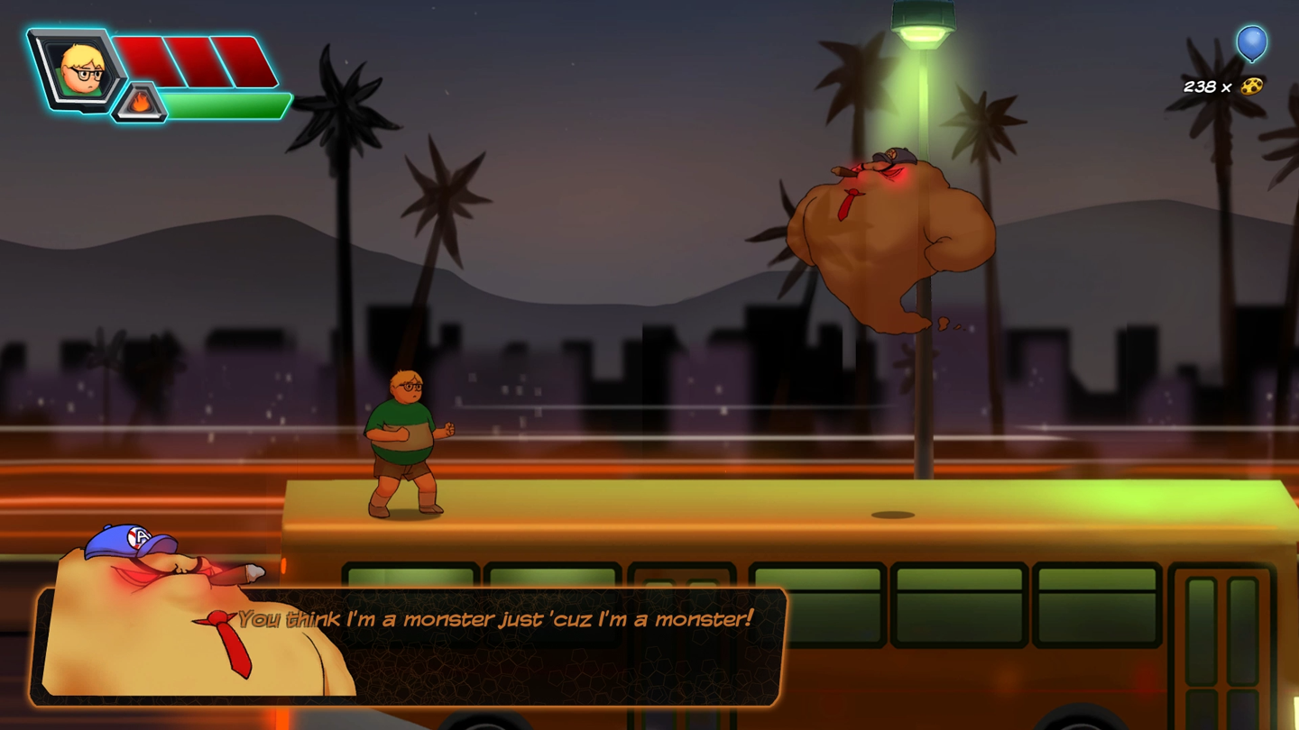 Adventures of Chris - Adventure Platformer - Chris Confronts Smog Monster in L.A.